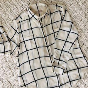LOFT gingham button down blouse